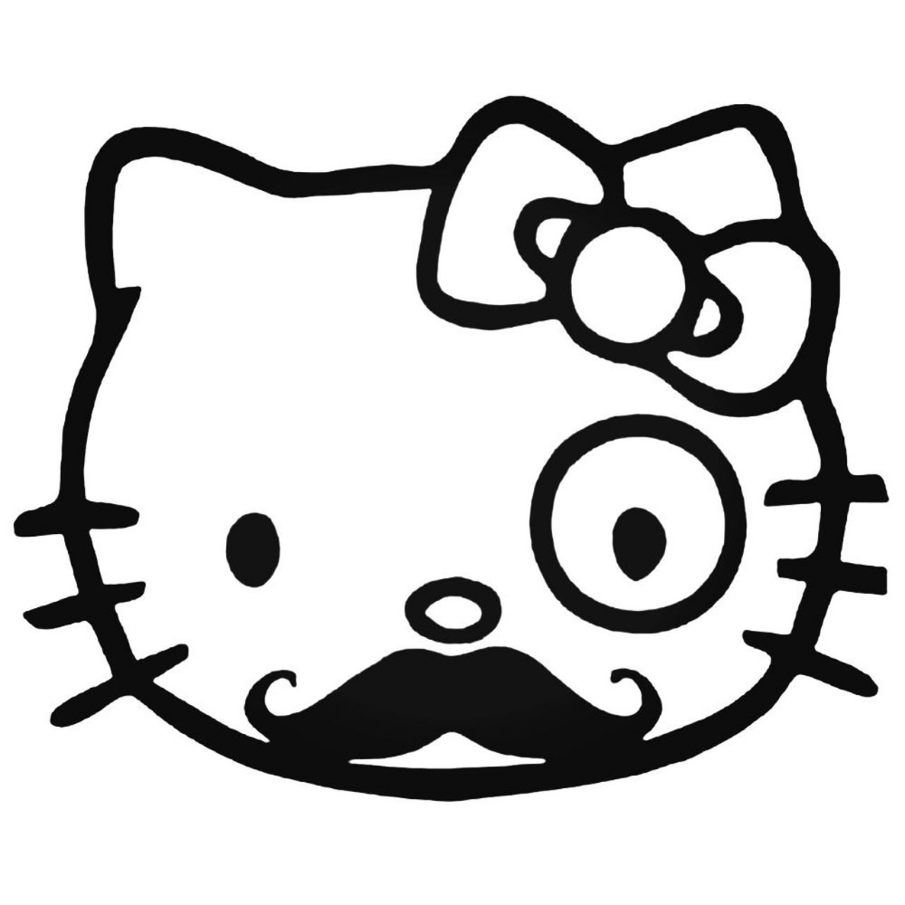 Hello Kitty Mustache Monopoly Man Decal Hello Kitty Coloring Hello Kitty Colouring Pages Kitty Coloring