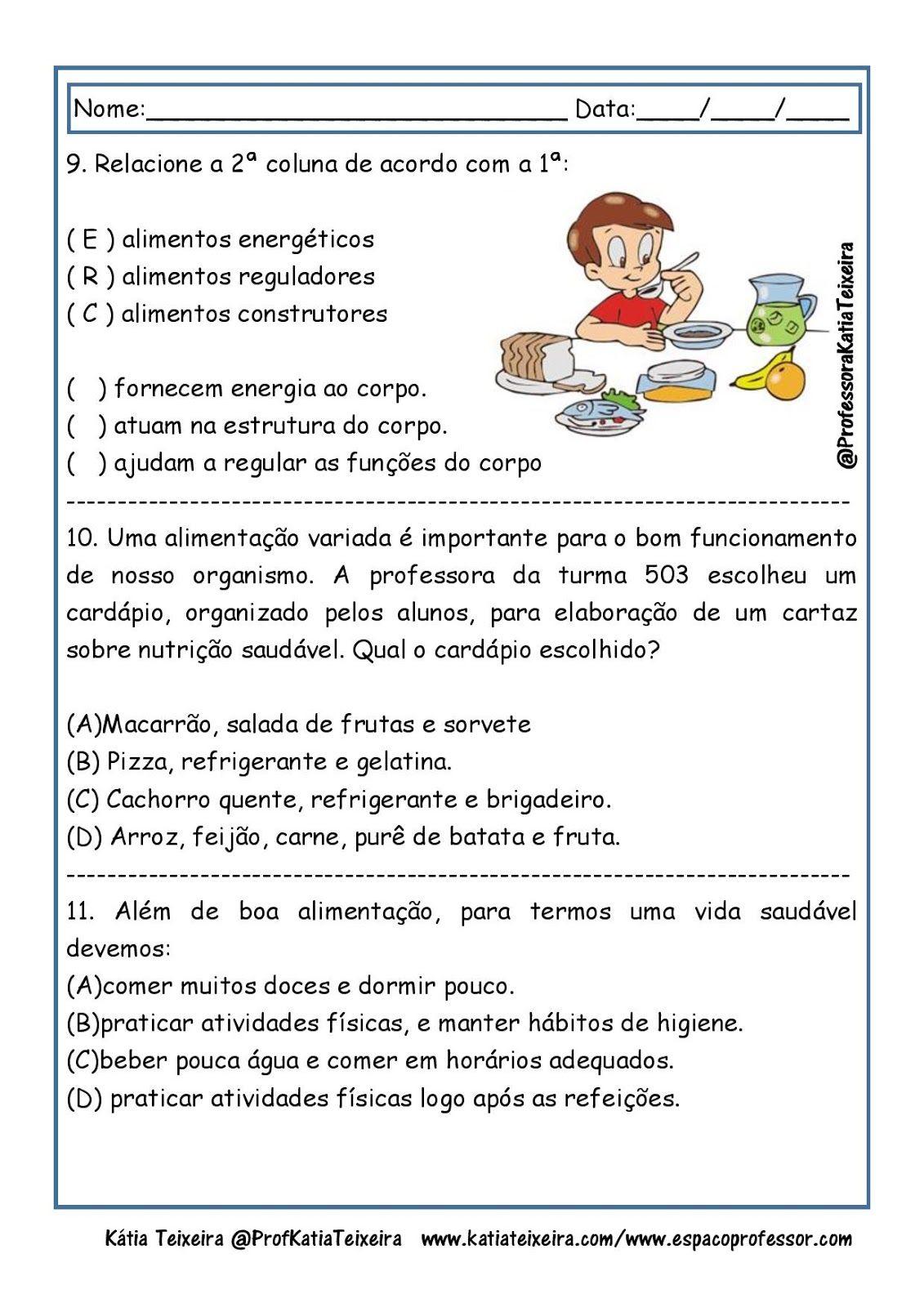 Atividades De Ciencias Alimentacao Piramide Alimentar Alimentos