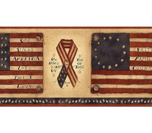 Flags And Ribbons Americana Wallpaper Border Amazon Home Amp Kitchen Patriotic Wallpaper Wallpaper Border Patriotic Kitchen