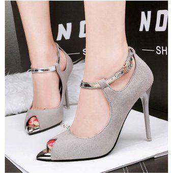 1bbc7afb Mujer Taco Zapatos De Tacon Estilo Elegante Y Modelo Color Gris ...