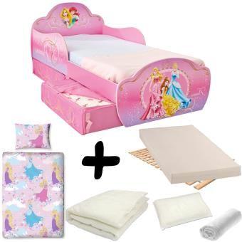 Pack complet Lit design avec tiroirs Princesse Disney = Lit+Matelas & Parure+Couette+Oreiller_0