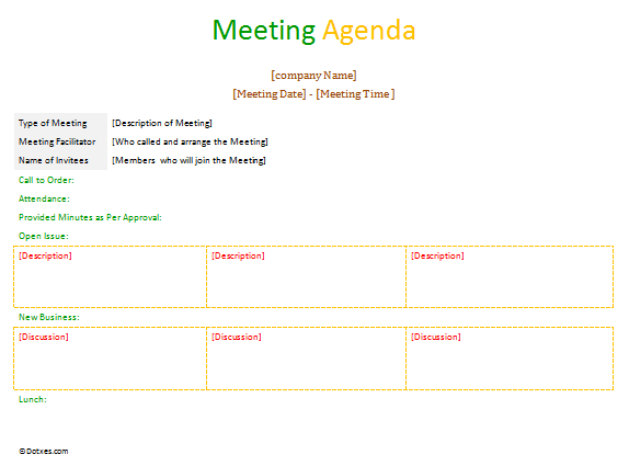 A Formal Meeting Agenda In Table Format To Improve Your Meetings