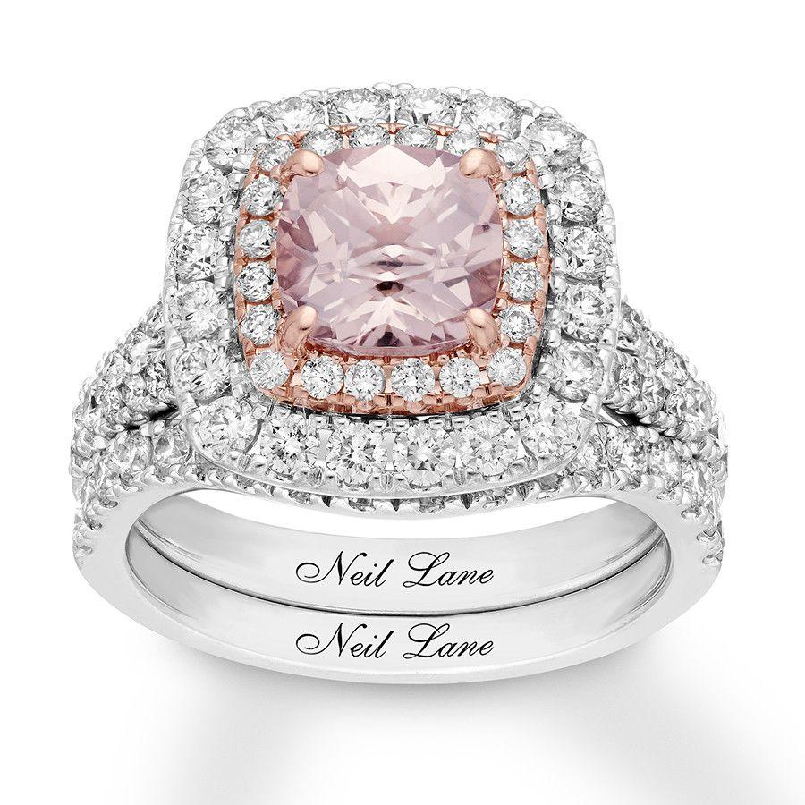 3a20cf67c82d6 Neil Lane Morganite Bridal Set 1-5/8 ct tw Diamonds 14K Gold ...