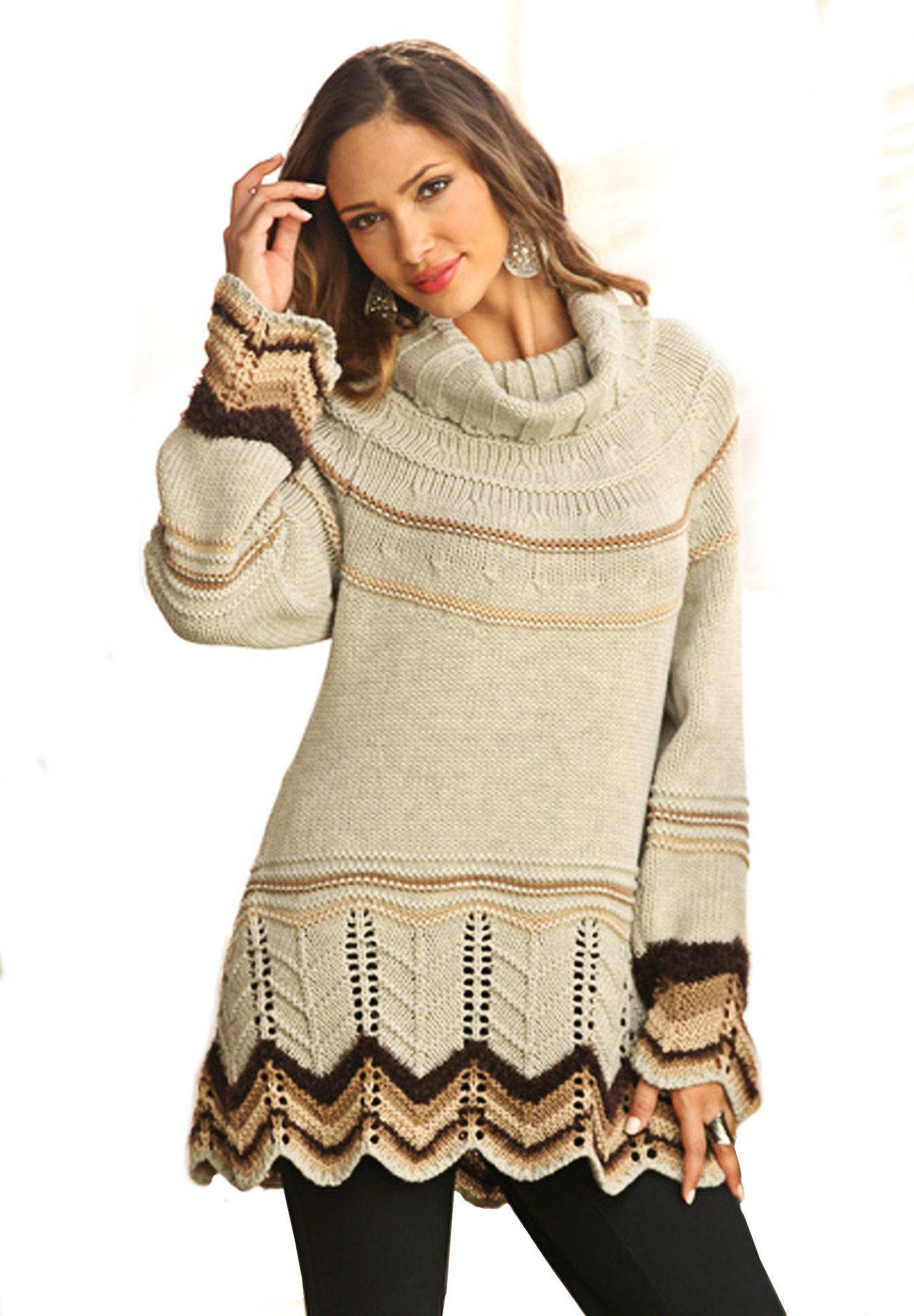 Chevron Border Pullover in oatmeal heather #PlusSize