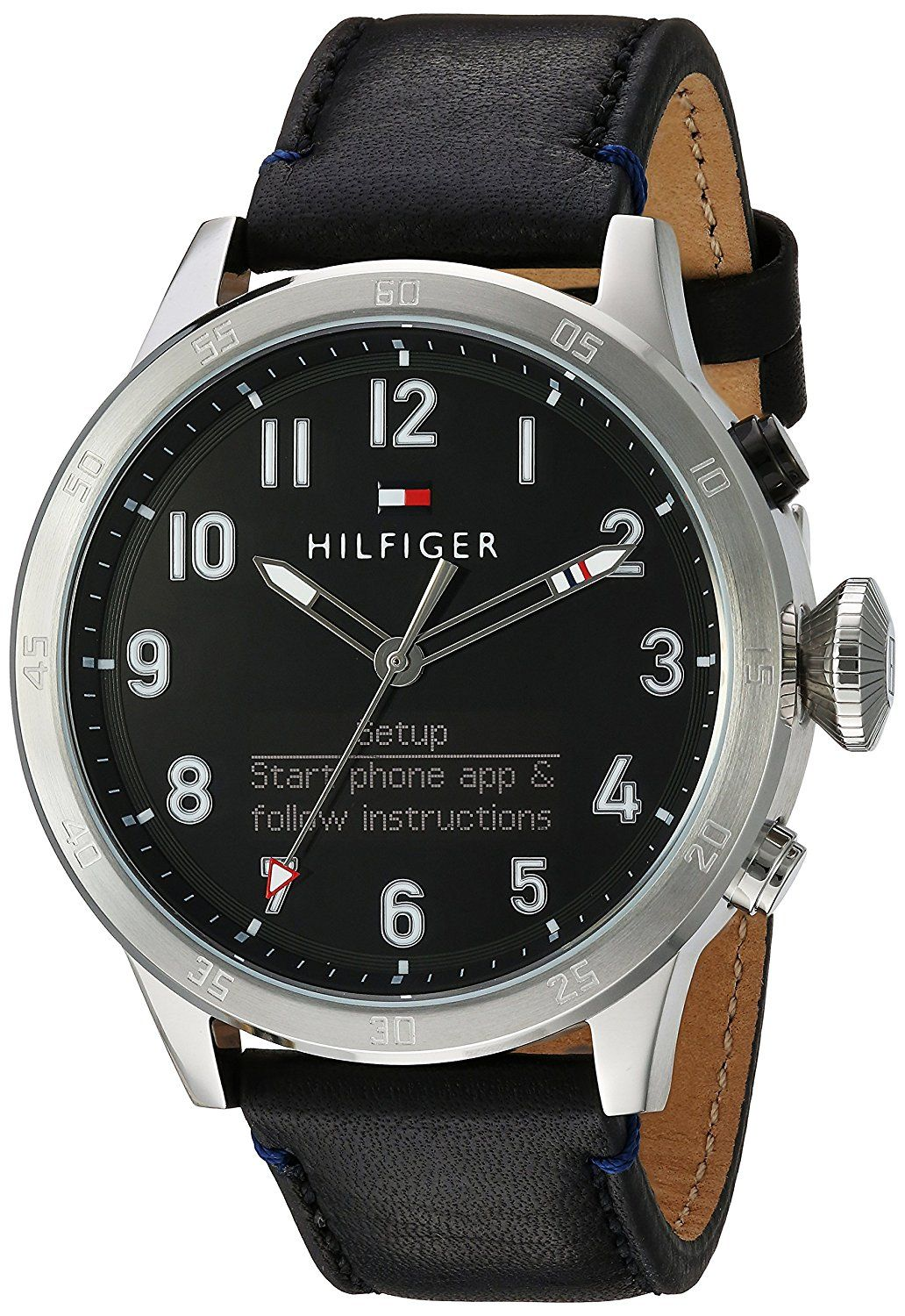 cc21257ff0d Tommy Hilfiger Men s  TH 24 7  Quartz Stainless Steel and Leather Smart  Watch