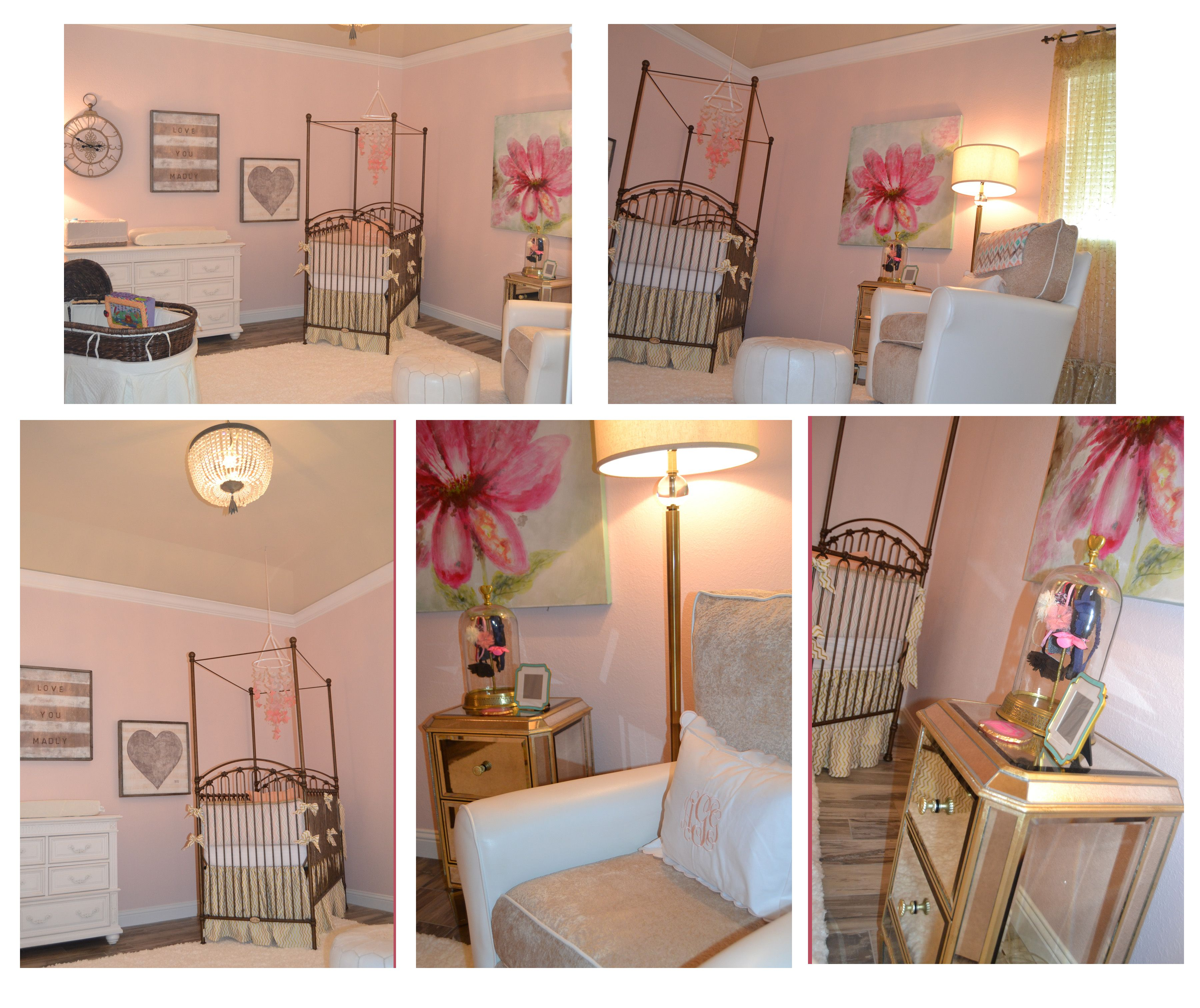 Pink, Gold And Grey Baby Girl Nursery