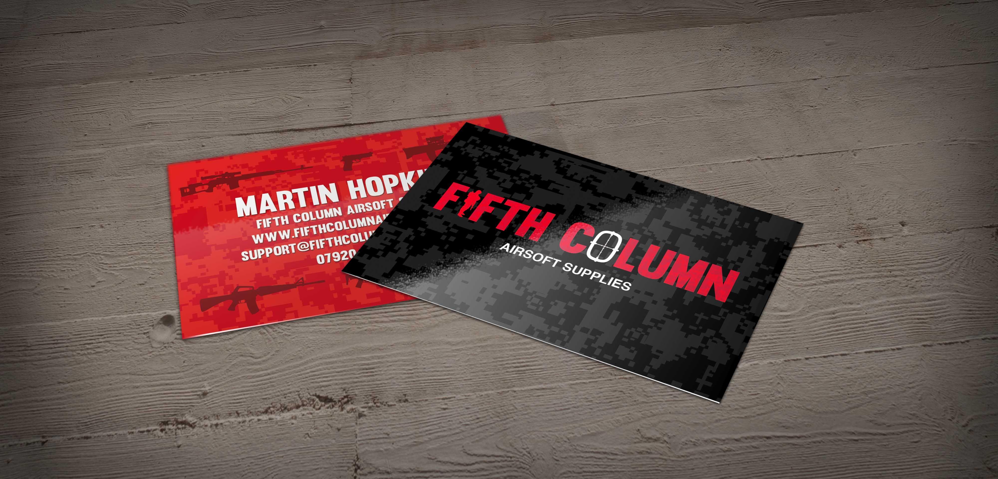 Fifth column airsoft supplies business card design by pigmental fifth column airsoft supplies business card design by pigmental check out the camo pattern running colourmoves