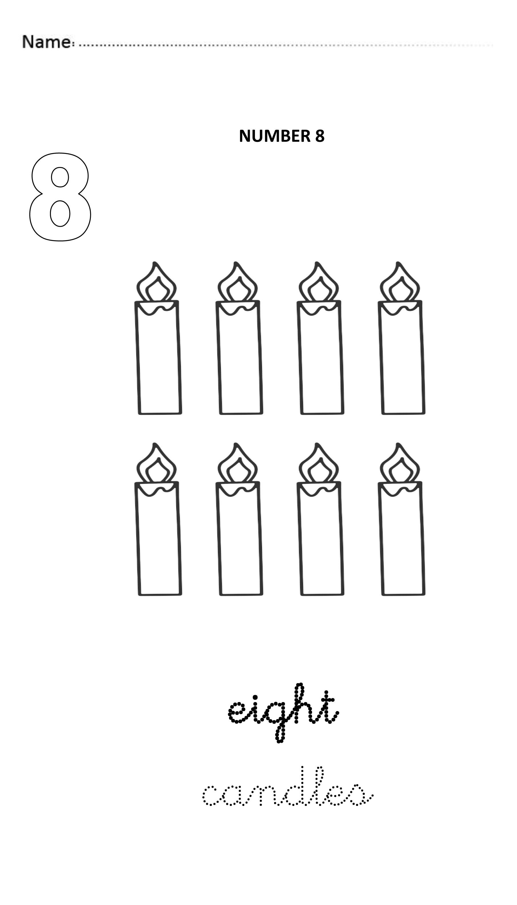 Number 8 Easy And Visual Worksheet To Teach Numbers For