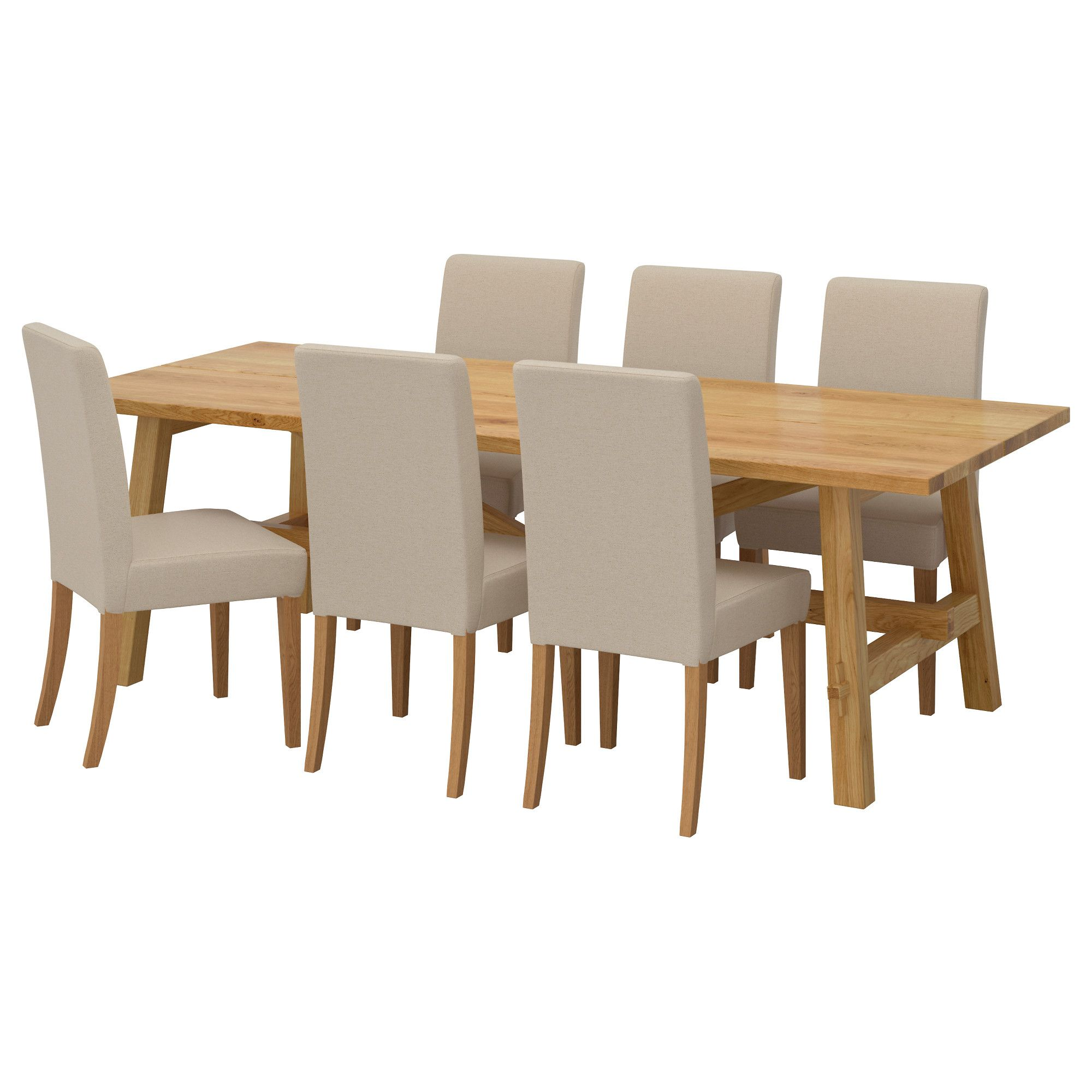 IKEA   MÖCKELBY / HENRIKSDAL Table And 6 Chairs Oak, Linneryd Natural