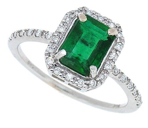 1 30Ct Emerald Cut Genuine Emerald and Diamond Ring in 14Kt White
