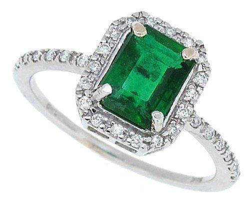 1 30Ct Emerald Cut Genuine Emerald and Diamond Ring in 14Kt White