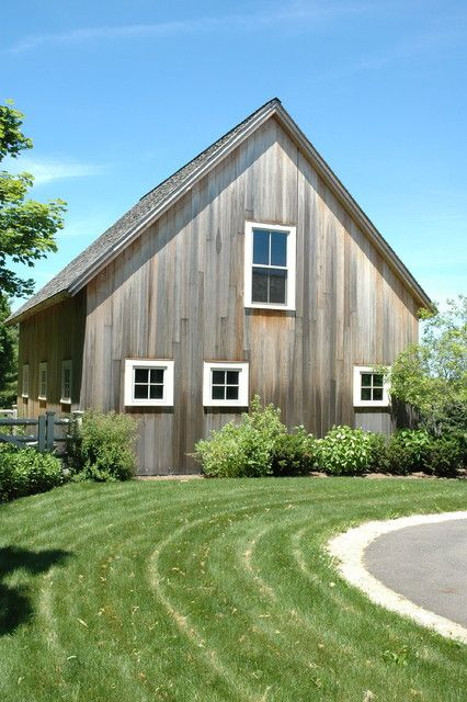 Building Exterior Sage Siding Farmhouse : Vertical vinyl siding garage and shed farmhouse with a