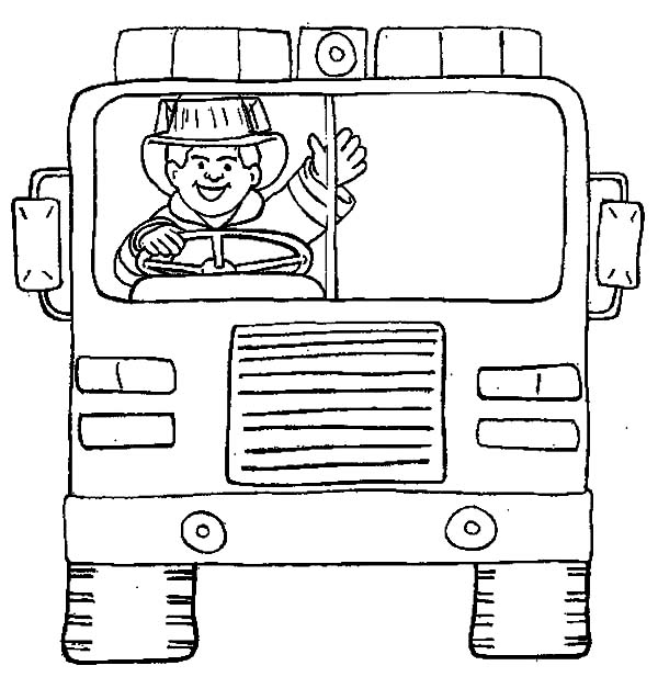 Fireman On Fire Vehicle Coloring Page : Kids Play Color