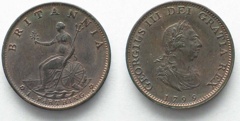 1799 England GREAT BRITAIN 1799 Farthing GEORGE III copper UNC!!! # 95211 UNC