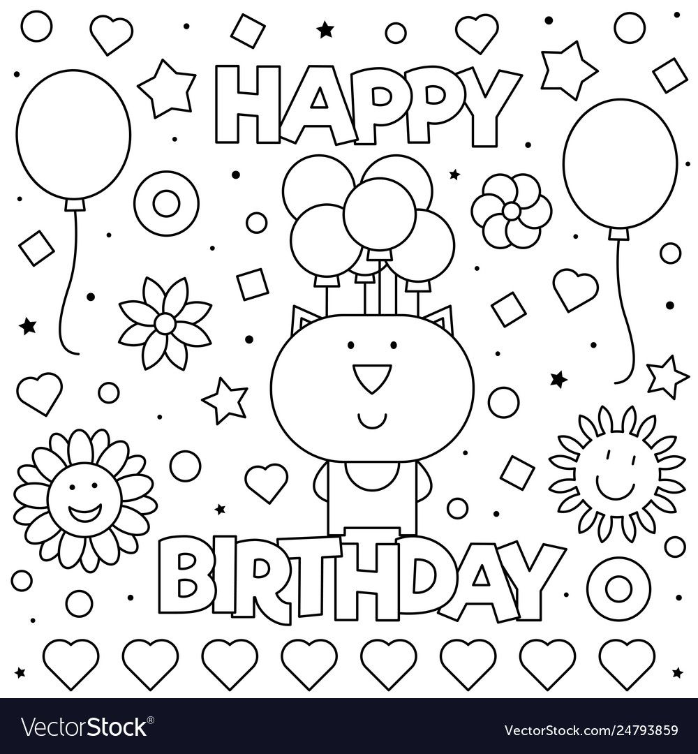 Happy birthday coloring page vector image on in 2020 ...