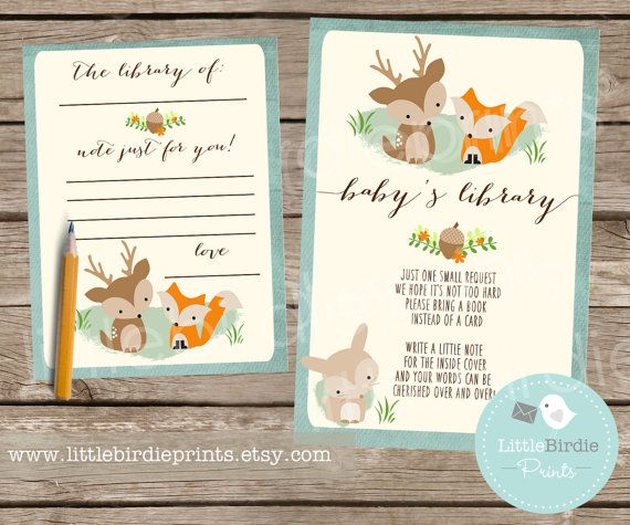 woodland baby shower book instead of a card inserts with bookplate