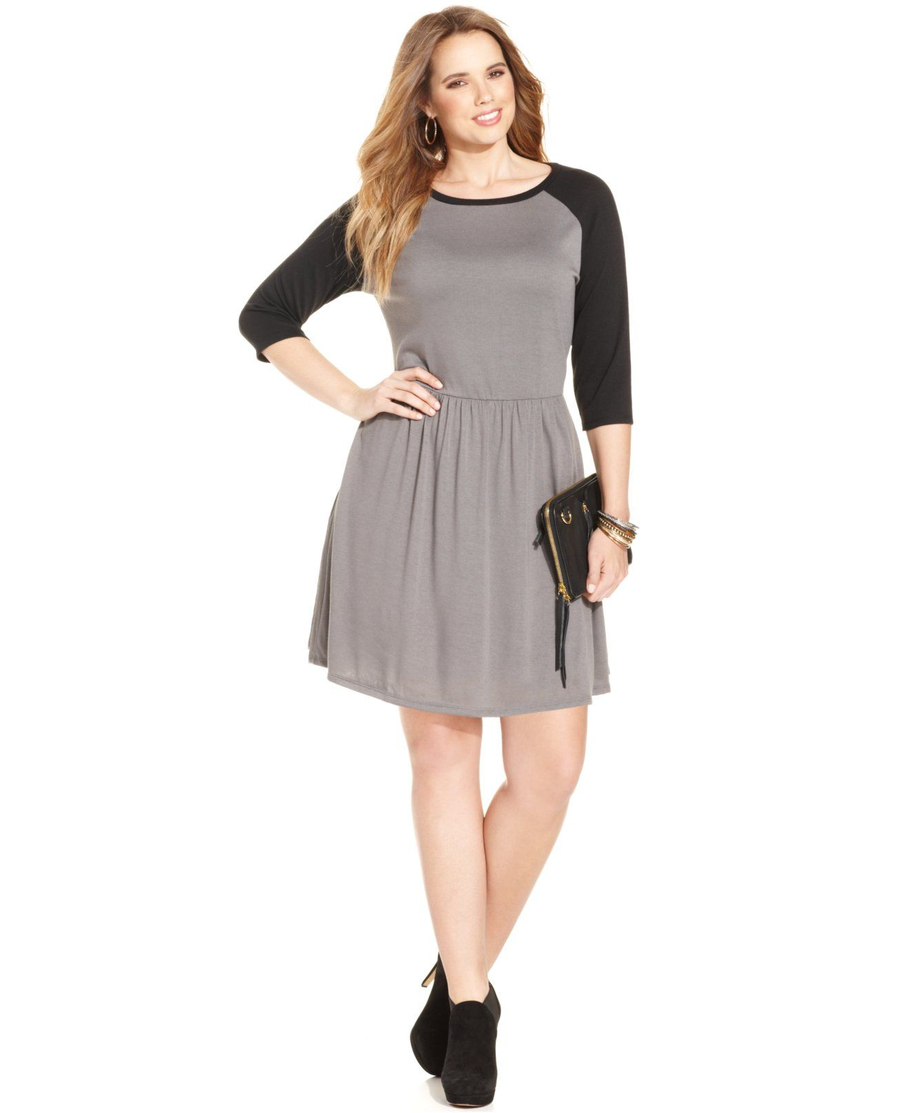 Love Squared Plus Size Three Quarter Sleeve Colorblocked A Line