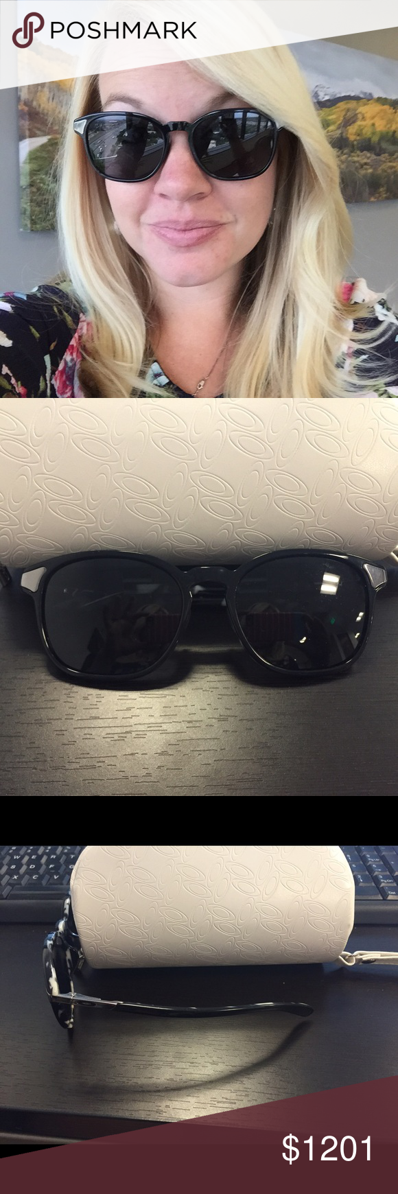8be3df7ac1 Black with black and white tortoise shell design inside. Oakley glasses  case included! Oakley Accessories Sunglasses. Beautiful women s OAKLEY  RINGER ...