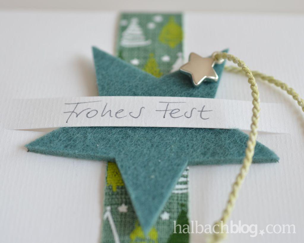 halbachblog i karten basteln zu weihnachten in mint hellgr n und petrol i schlitz mit filzstern. Black Bedroom Furniture Sets. Home Design Ideas