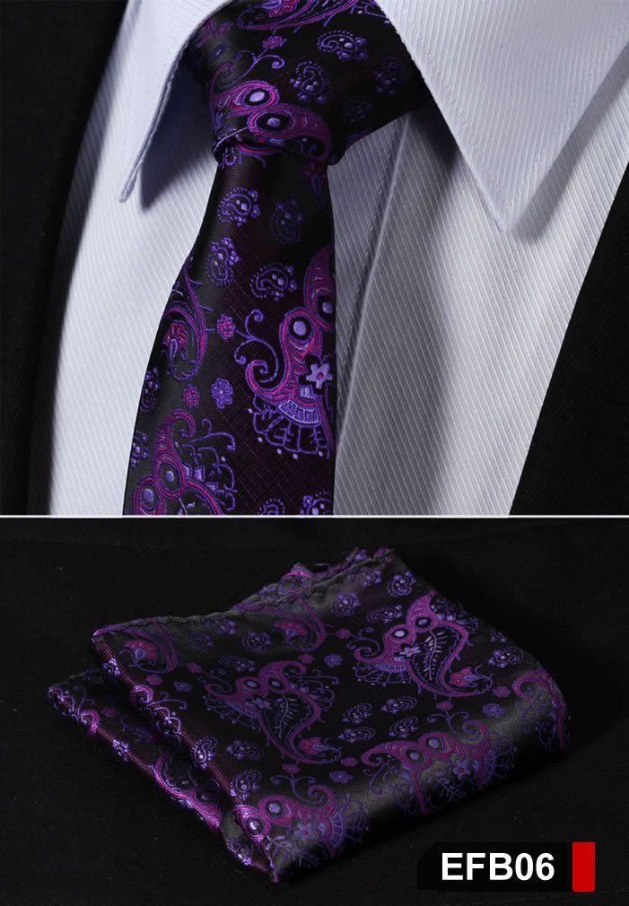 Black and White Patterned Handmade 100/% Silk Tie Pocket Square Set Purple Blue