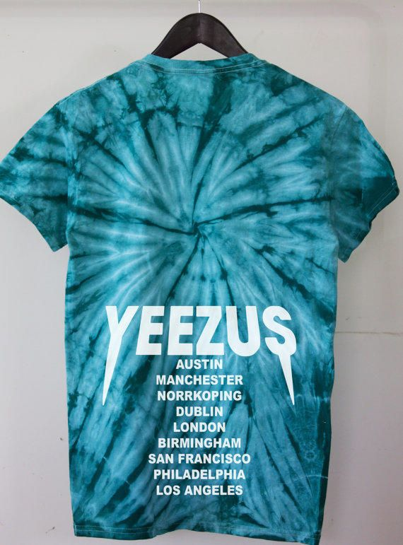 8247a9e183ff6 Yeezus Tour Seafoam Green Teal tie dye T Shirt tour dates yeezy jumpan kanye  west yeezus merch TLOP the life of pablo from TheGoldenLabel on Etsy.