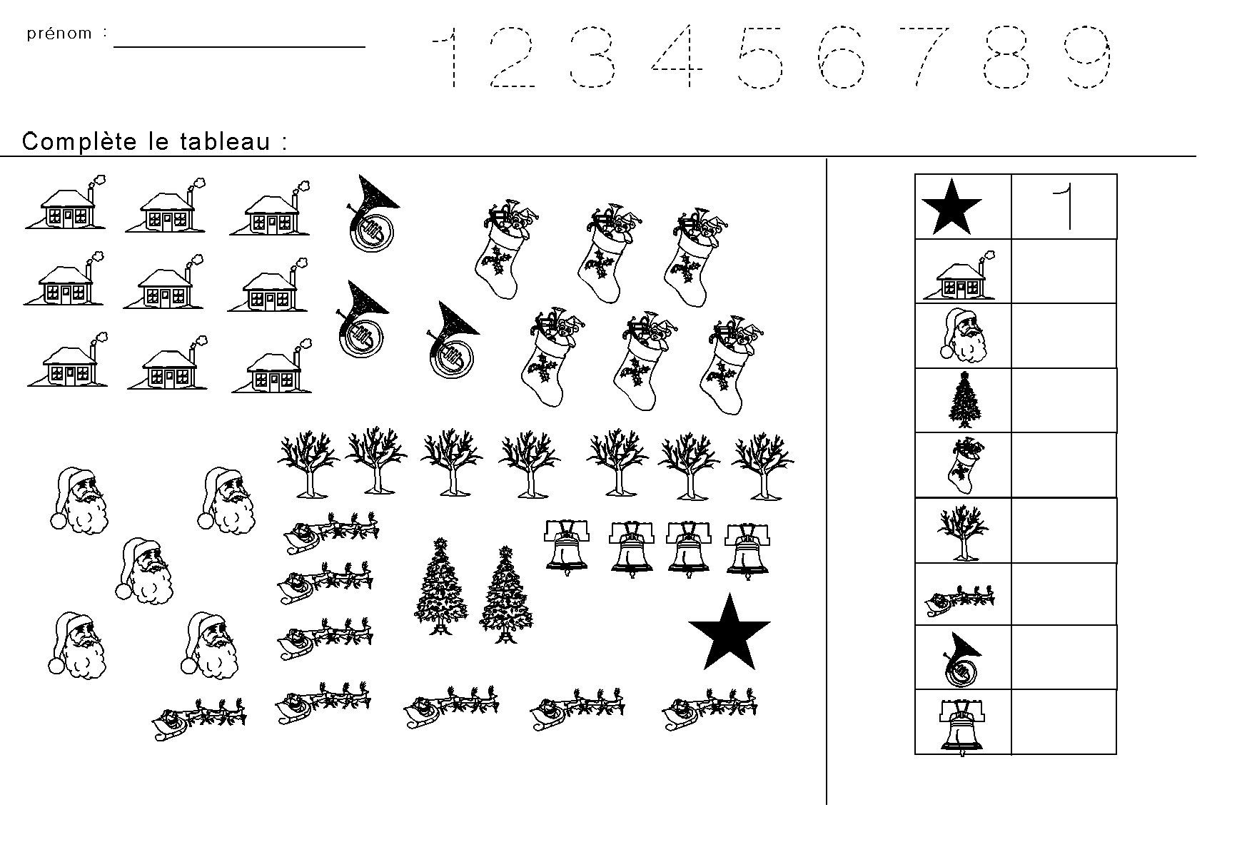 Fiches maternelles : Compter les figures de Noël et ...