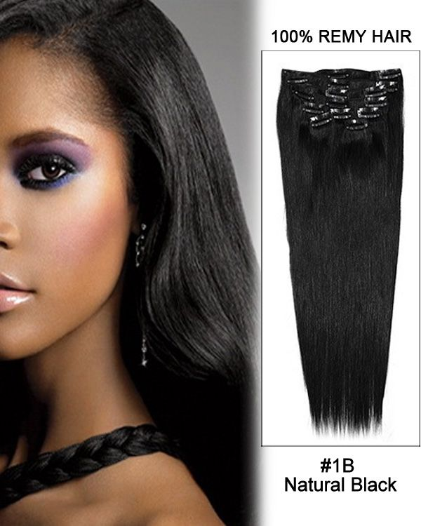16 Inch 8pcs Straight Indian Clip In Remy Hair Extensions 1b