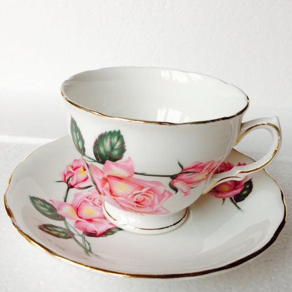 Pink  rose and green Tea cup and saucer sets  by LaviniasTeaParty