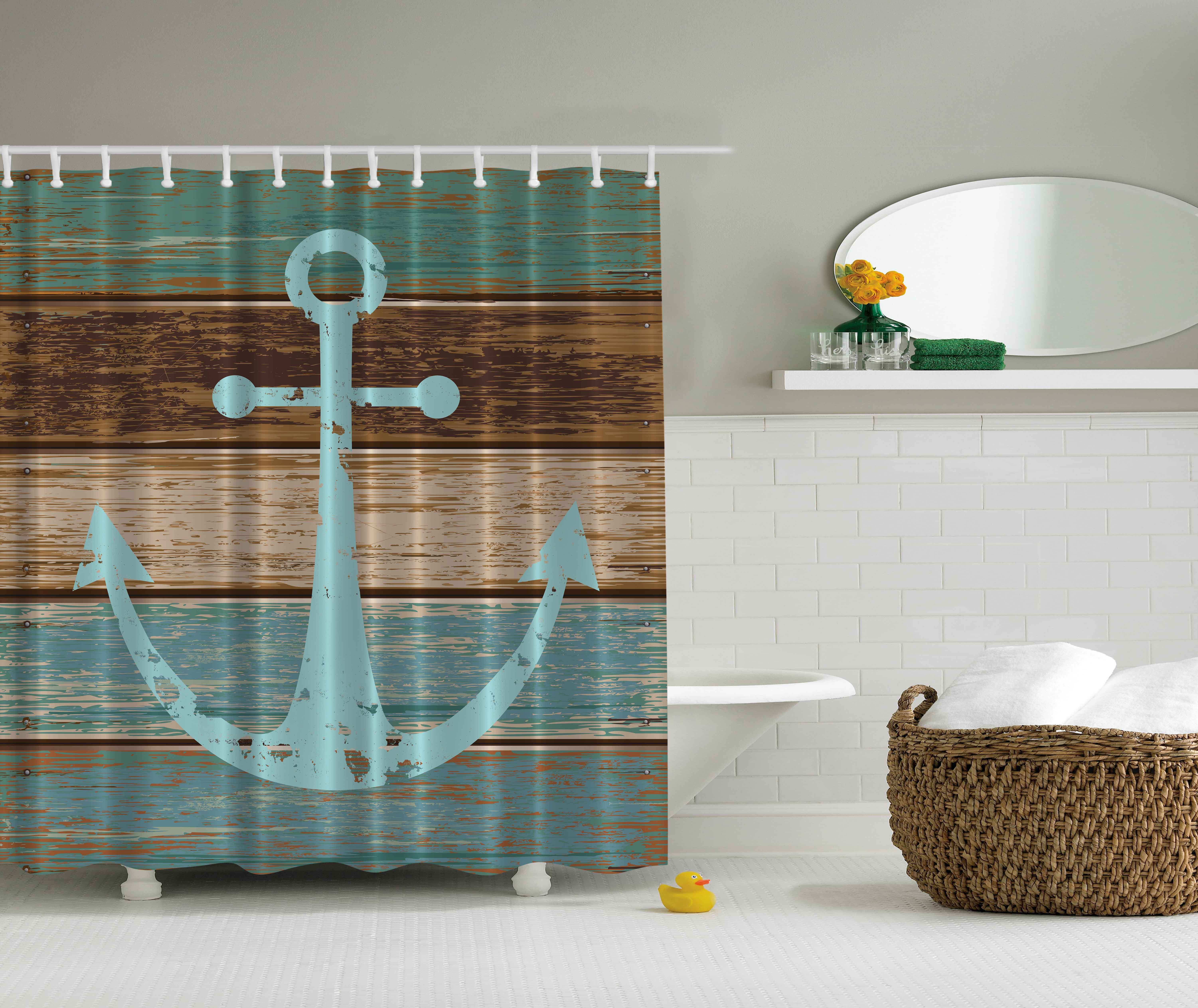 Ambesonne Nautical Decor Collection Anchor Rustic Wood Printed Polyester Fabric Shower Cu Anchor Shower Curtains Nautical Shower Curtains Beach Shower Curtains