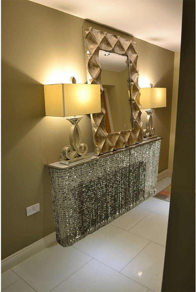 Crystal grey console table with cast aluminium top (From Modern Radiator Covers and Window Shutters)