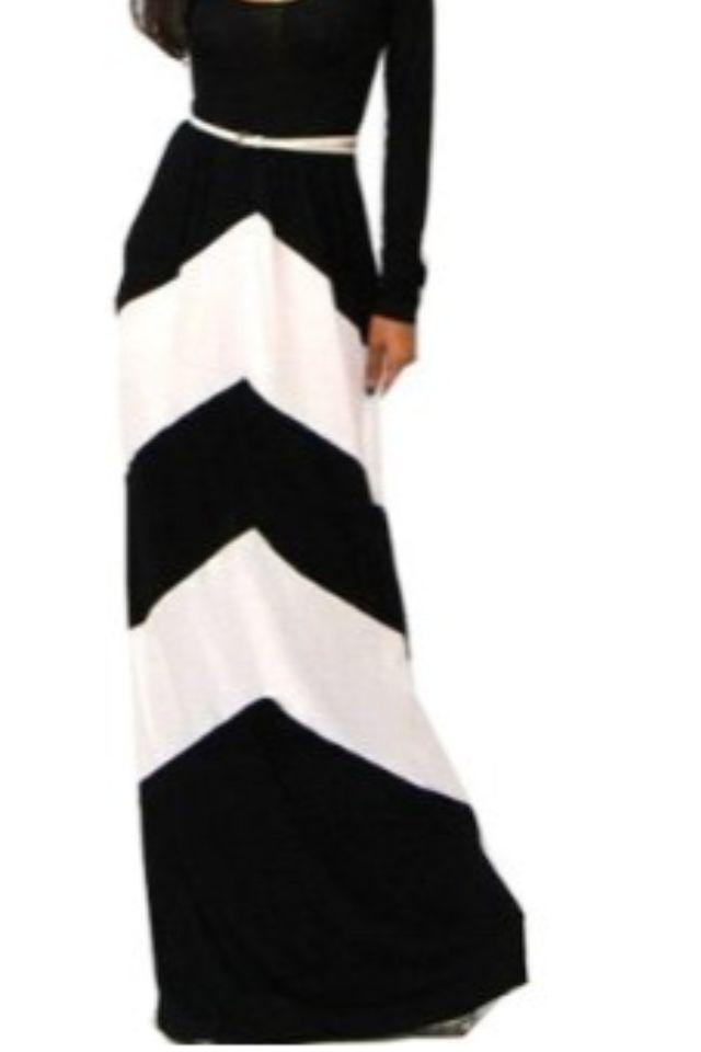 Chevron Color Blocked Long Sleeve Empire Waisted Maxi Skirt