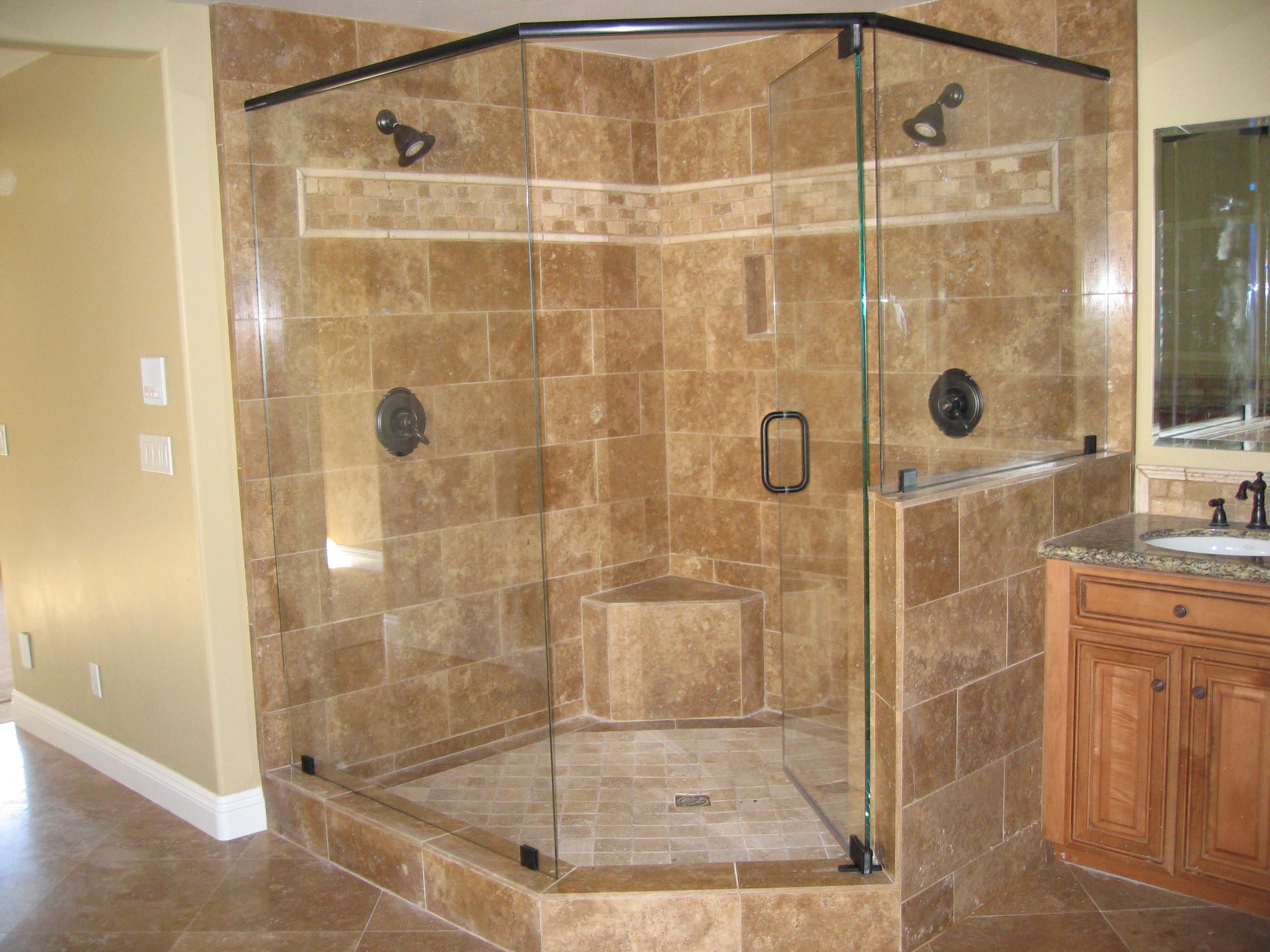 Elegant Gorgeous Glass Shower Doors For Your Contemporary Bathroom Design:  Beautiful Double Head Shower On Brown Marble Walk In Shower Wall Also  Single Swing Glass ...