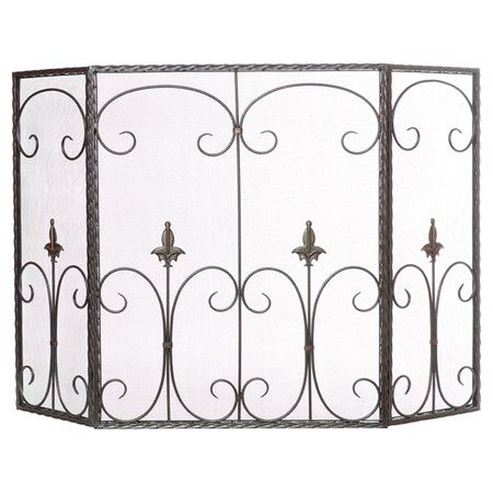 Metal fireplace screen with scrolled wire accents. Product: Fireplace screenConstruction Material: MetalCo...