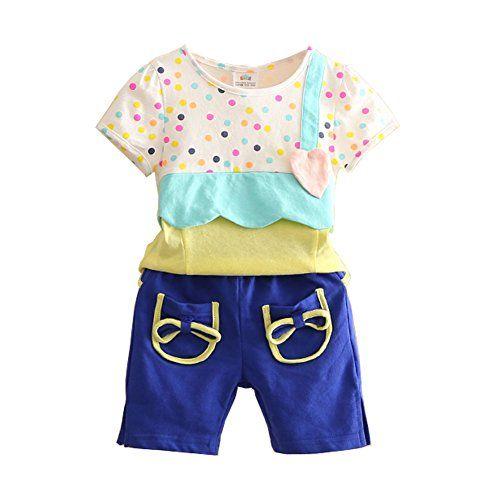 168feddc Mud Kingdom Girls' Polka Dot Patchwork T-shirts and Pockets Shorts Cute  Outfits