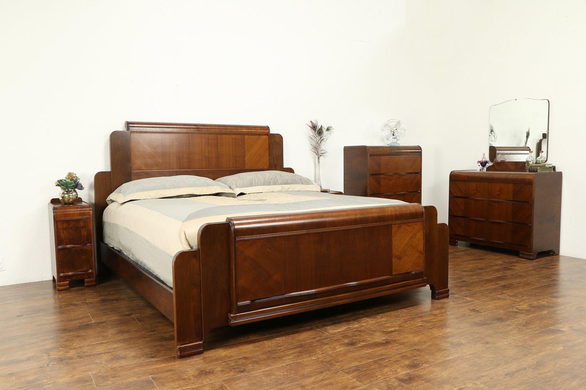 Art Deco Waterfall Design 1940 Vintage 5 Pc Bedroom Set King Size Bed 31163 In 2020 Bedroom Set King Size Bedroom Sets Bedroom Sets For Sale