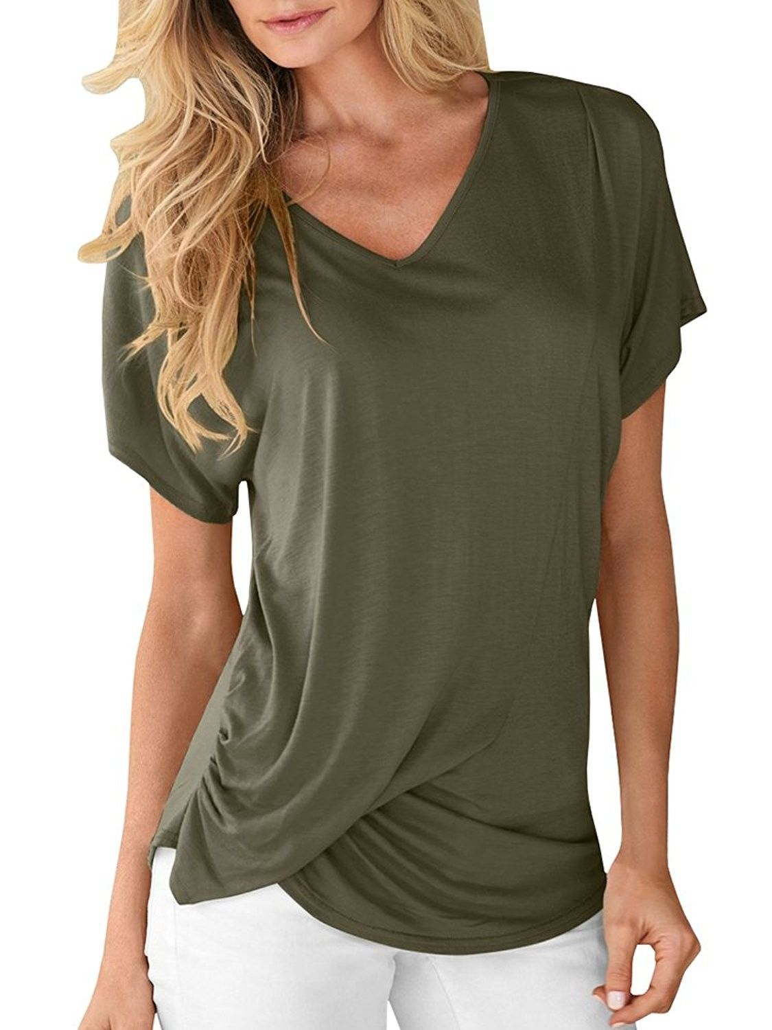2f529b9f7c111d Women V Neck Short Short Sleeve T-Shirts Casual Tee Tops Twist Knot Basic  Blouses - Army Green - CS1800KR6ST