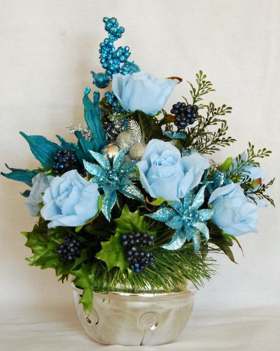 Blue and Silver Roses and Poinsettia by FloralDesignsByAlka, $60.00