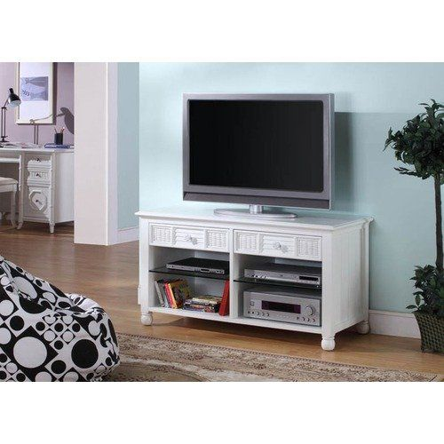 Hospitality Rattan Ships Wheel Plasma 46 Tv Stand In White Tv