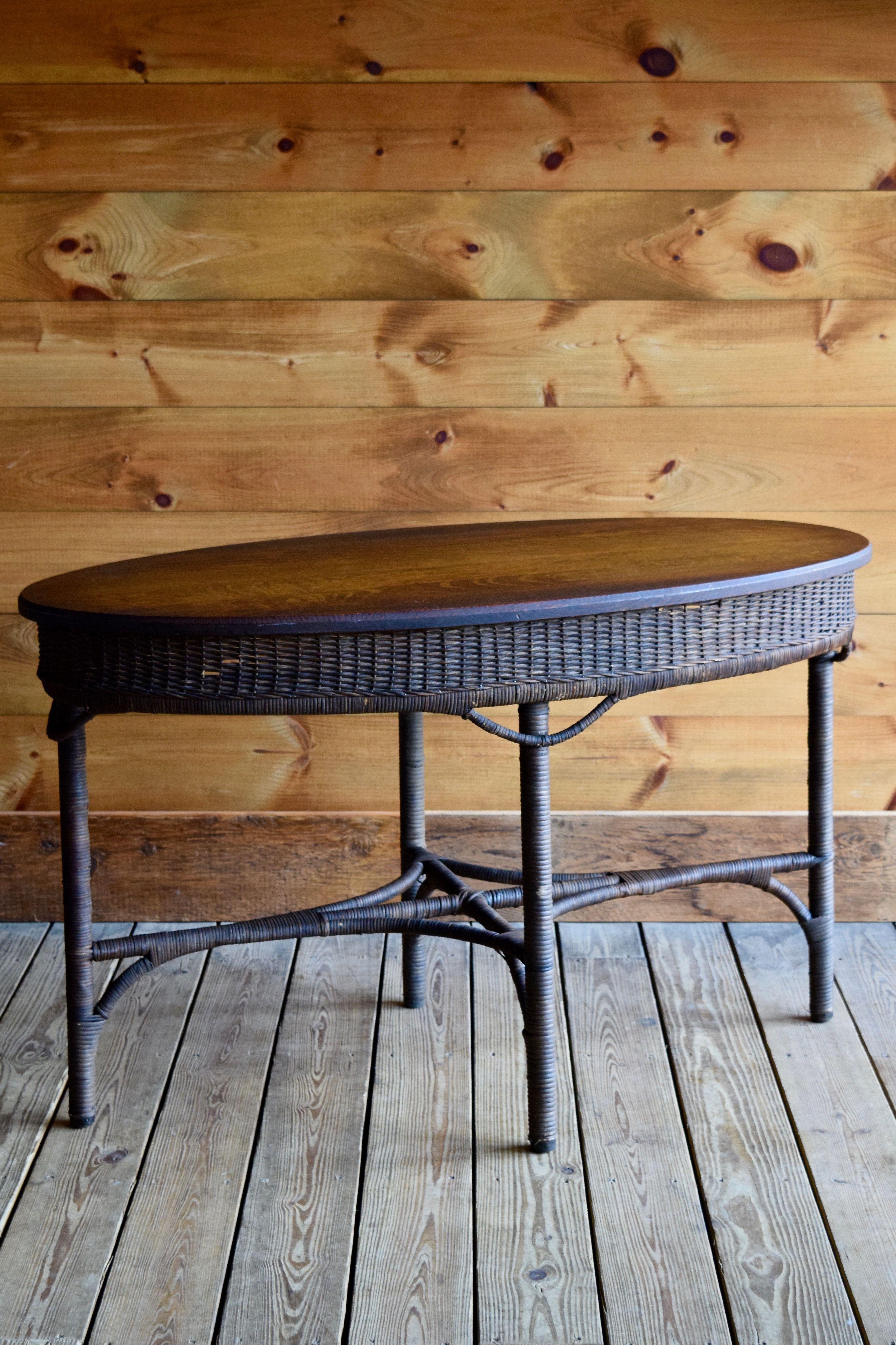 Antique Heywood Wakefield Table Wicker Table Vintage Wicker Furniture Living Room Furniture Tables