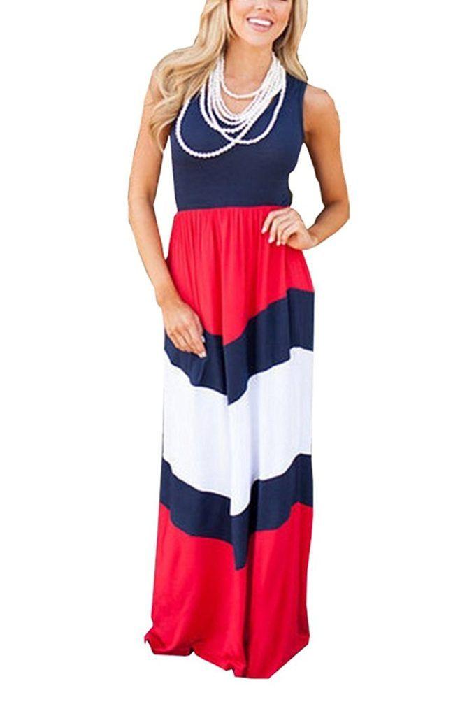 38bf4c3bff21 Shangke Womens Zig Zag Scoop Neck Wave Striped Tank Maxi Long Dress ...