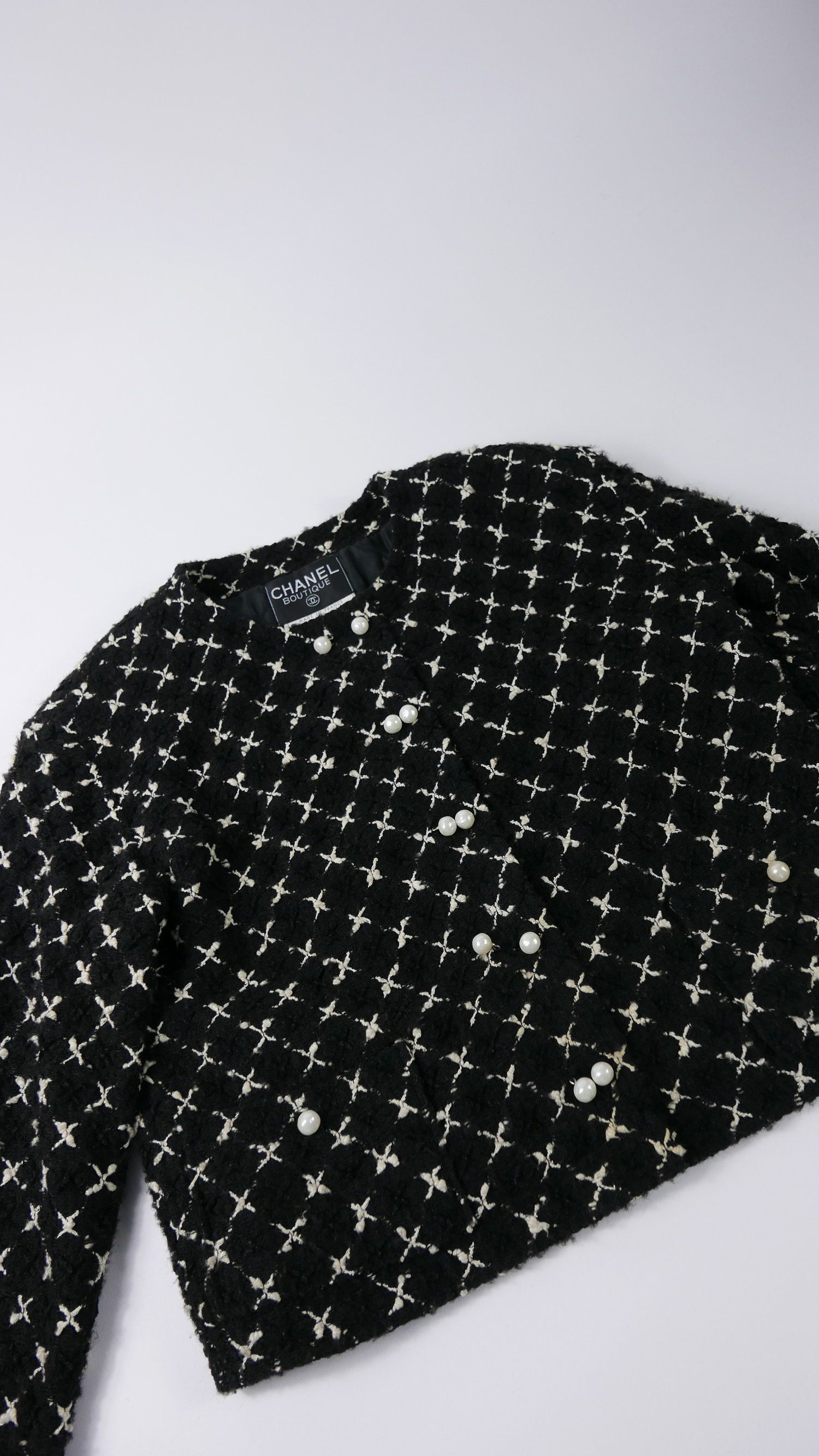 8c1d3c28c5d6 Authentic classic little black jacket Chanel white crosses and pearls, size  36, collection 2001 via KERN1STORE, Europe's first online store dedicated  to ...
