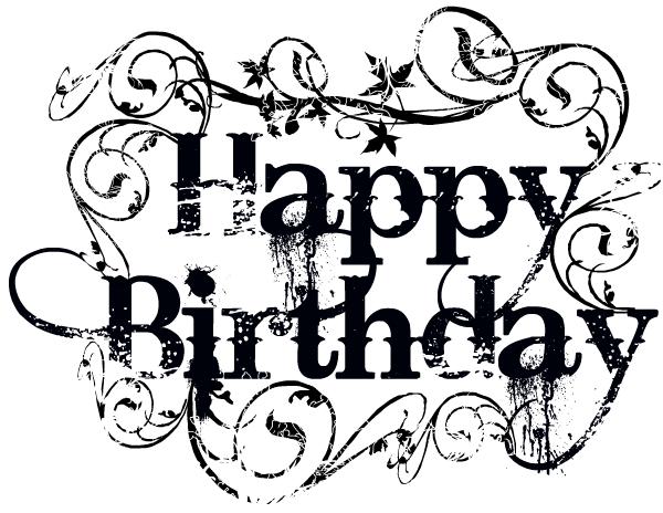 black and white happy birthday clip art free