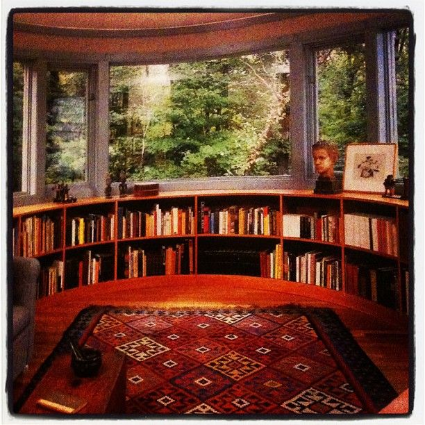 Curved Window Seat And Bookshelves In Bay Window. Where's