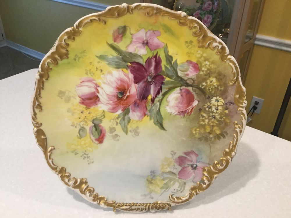 Antique TV Limoges 12\u00261/4\  Plate Yellow Plum Pink Ornate Gold Rim Artist Signed & Antique TV Limoges 12\u00261/4\