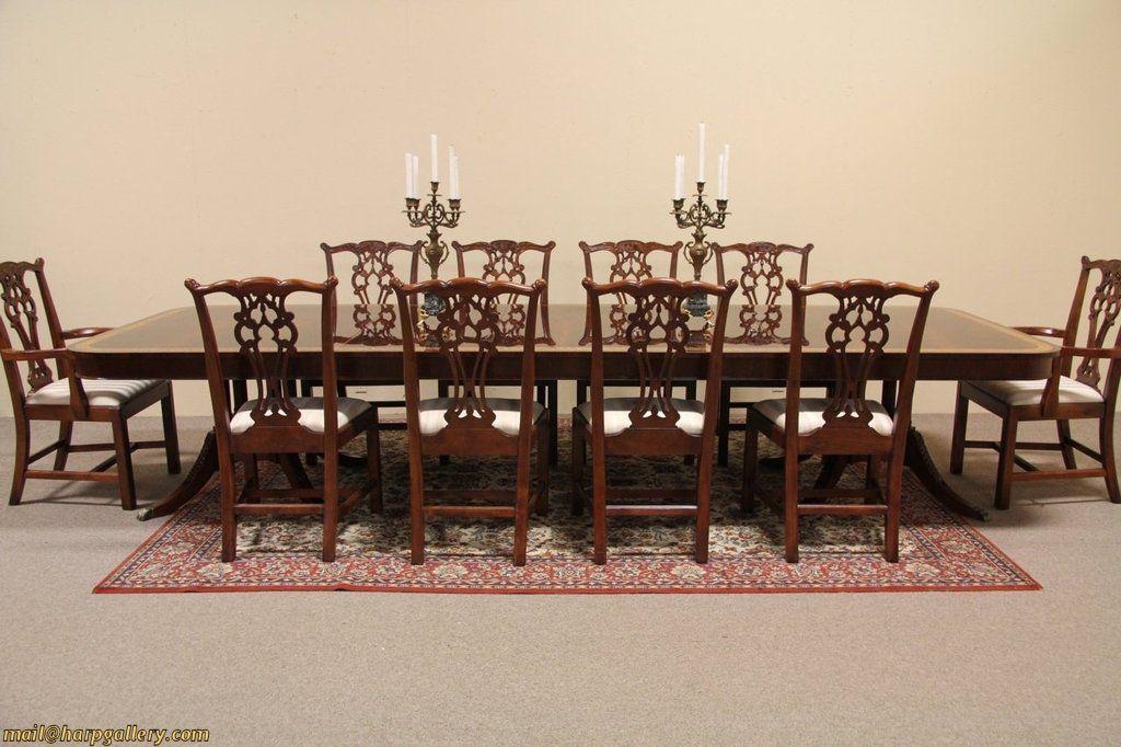 Georgian Mahogany Banded Dining Table, 12\u0027 8\