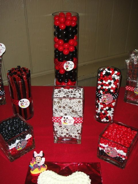 Red White And Black Candy At A Mickey Mouse Party Mickey Mouse