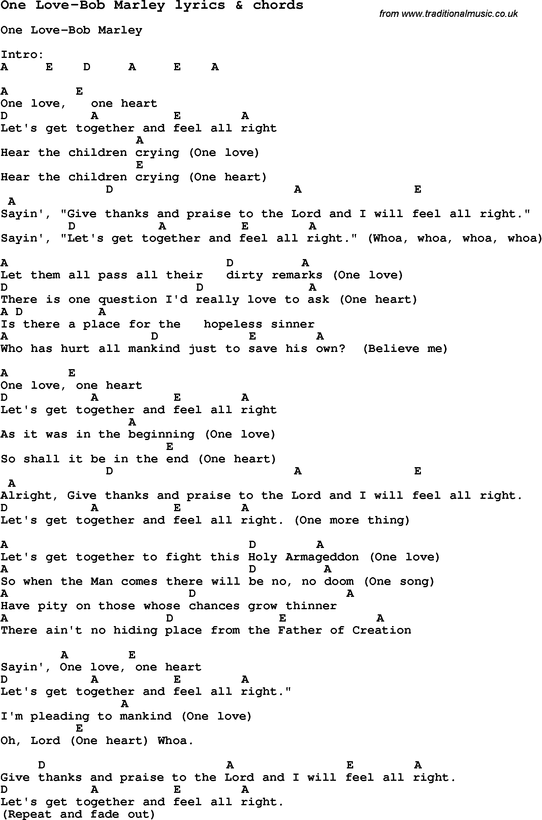Love Song Lyrics For One Love Bob Marley With Chords For Ukulele