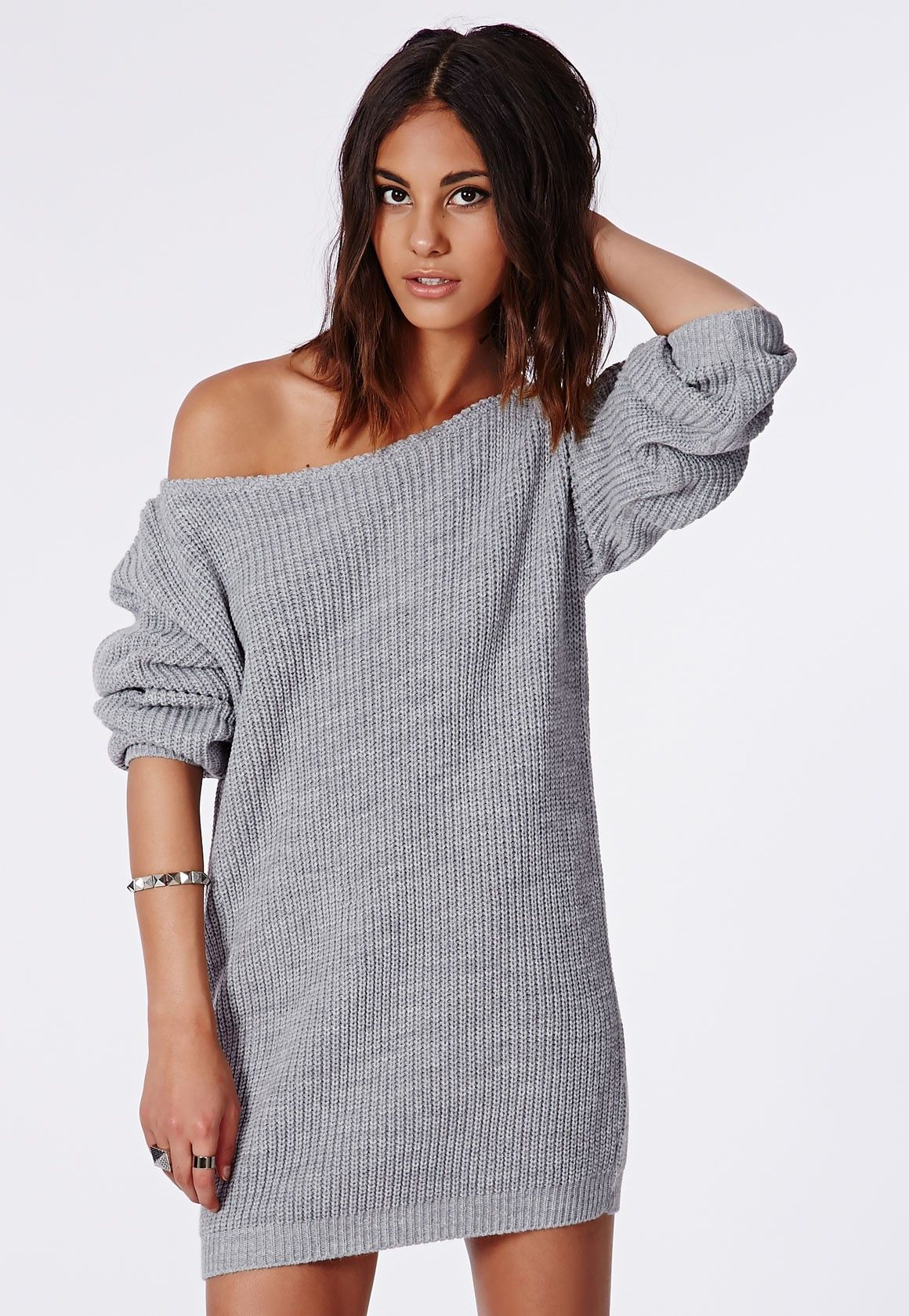 Missguided - Ayvan Off Shoulder Knitted Sweater Dress Grey ...