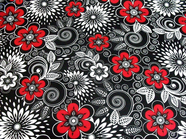 Quilting Fabric Black White Red White 1 Yard 7 50 Via