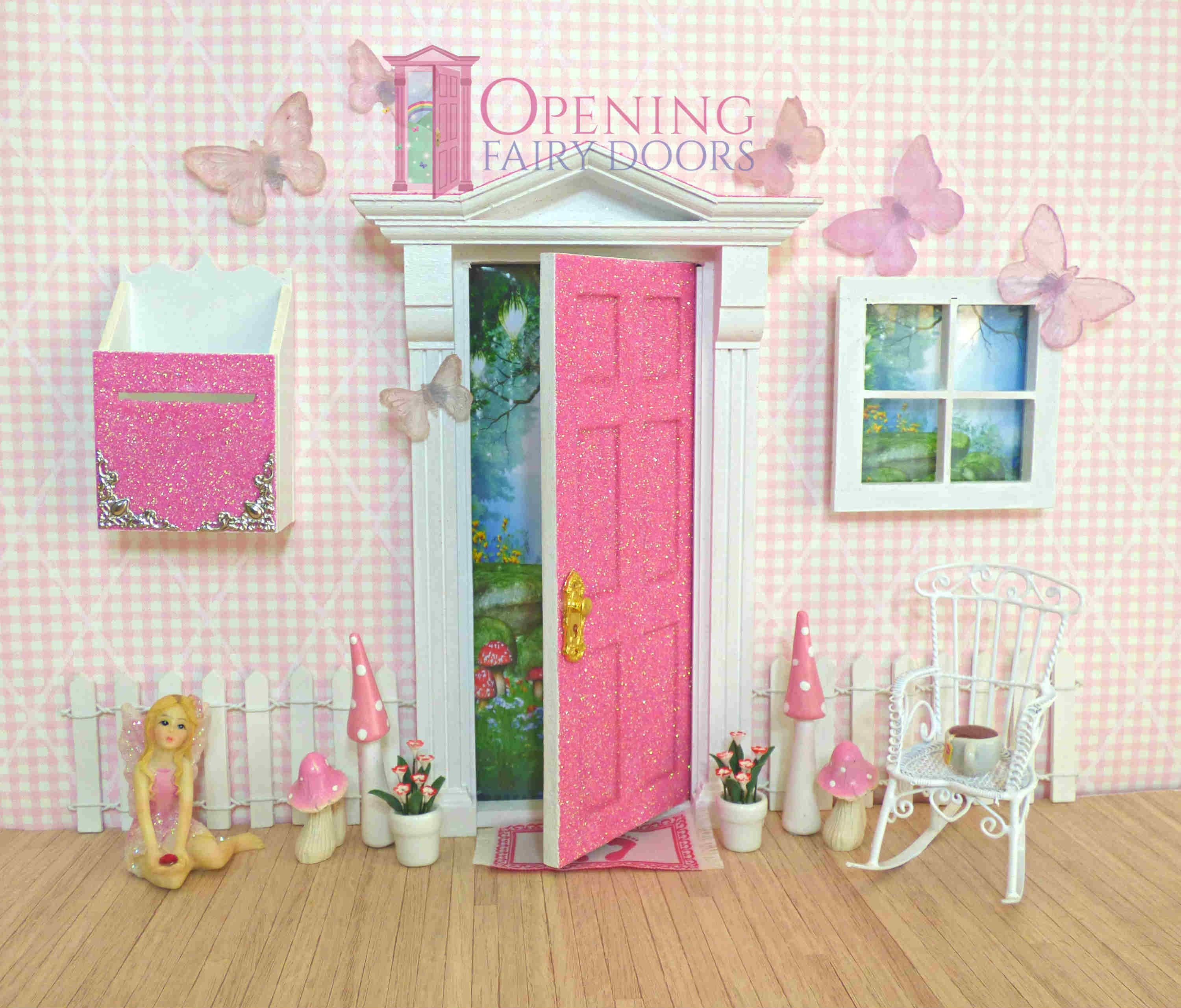 Pink Glitter Opening Fairy Door With Accessories From Opening Fairy Doors Australian Made And Austral Fairy Doors Opening Fairy Doors Fairy Door Accessories